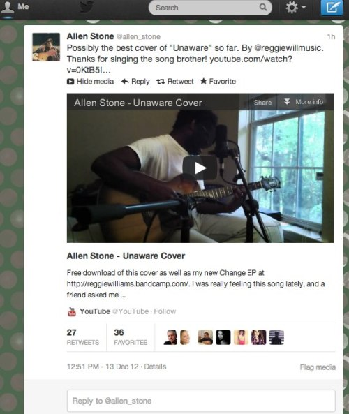 My friend Reggie Williams' cover of Unaware by Allen Stone