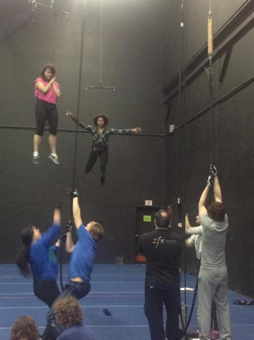 Apprentices practicing flying for their upcoming Humana Festival anthology, Sleep Rock Thy Brain.