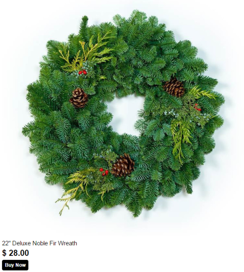 22 inch deluxe noble fir wreath